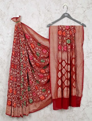 Maroon Wedding Saree in Bandhej