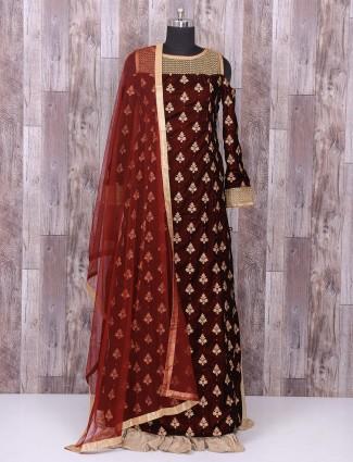 Maroon wedding wear alluring indo western