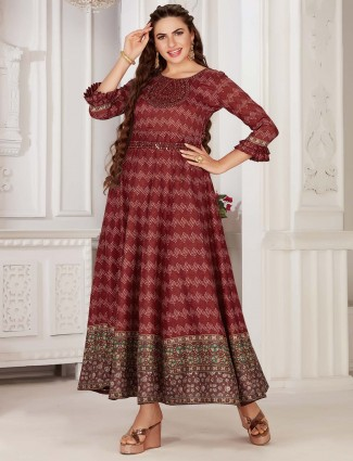 Marron colour festive wear cotton kurti