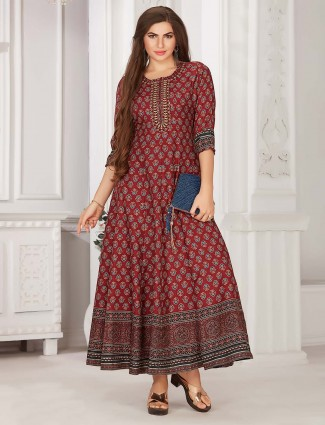 Marron printed cotton festival session kurti