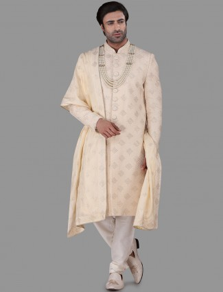 Marvellous cream silk chikan work sherwani set