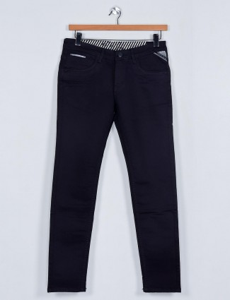 MD Sword solid black denim jeans for mens