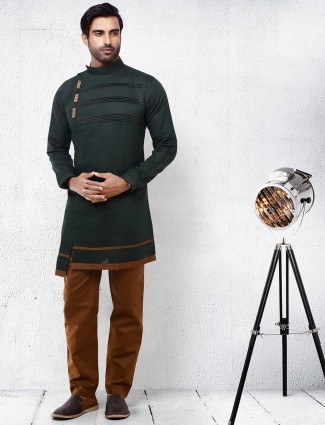 Mens solid dark green color kurta suit