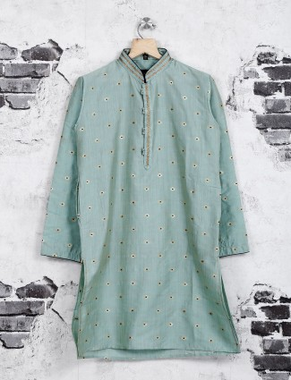 Mint green cotton silk kurta suit