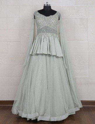 Mint green hue net fabric gown