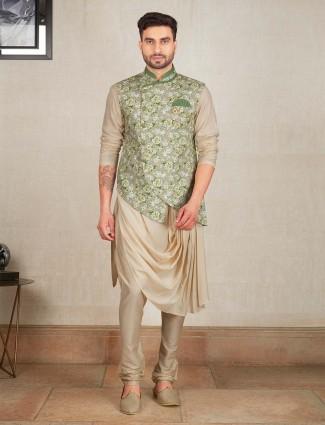 Mint green hue printed waistcoat set for mens
