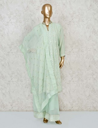 Mint green lucknowi palazzo suit for festive season