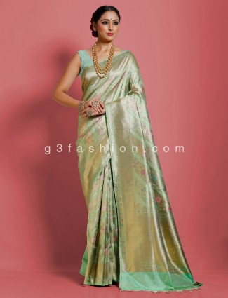 Mint green pure banarasi silk reception saree