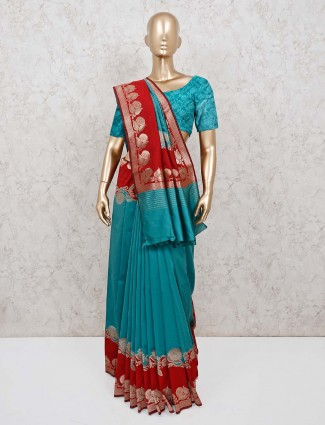 Mint green silk saree for wedding