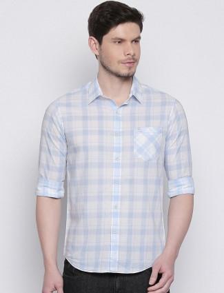Mufti light blue checks half sleeves shirt
