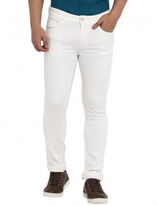Mufti white solid mens casual jeans