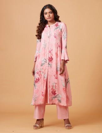Muslin silk pink printed punjabi salwar suit
