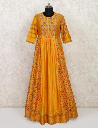Mustard anarkali suit in cotton for wedding