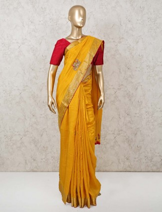 Mustard dola silk saree for party function