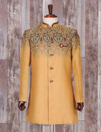 Mustard navy silk indo western