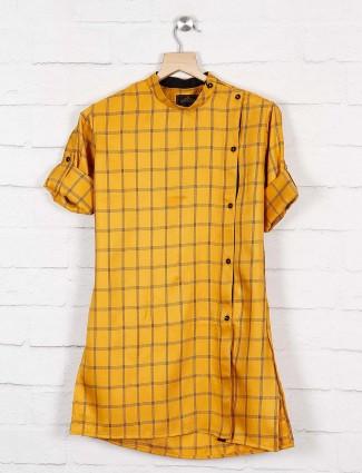 Mustard yellow checks cotton kurta