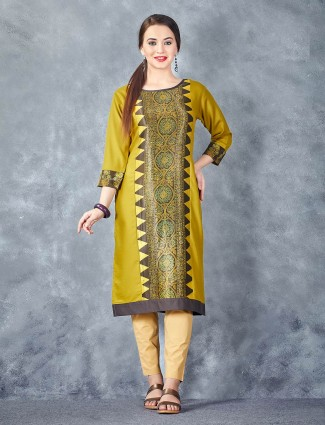 Mustard yellow color printed cotton kurti