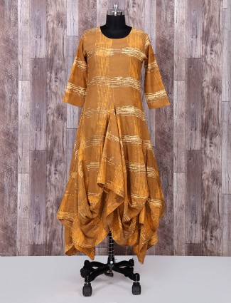 Mustard yellow colored cotton kurti