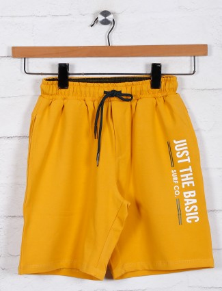 Mustard yellow cotton boys shorts