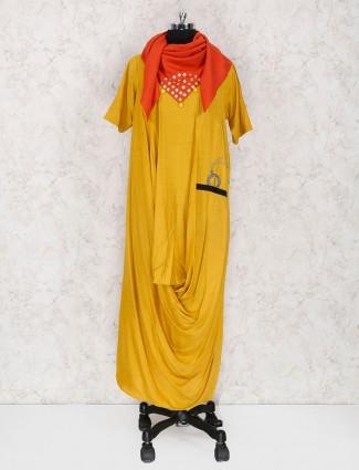 Mustard yellow cotton fabric kurti