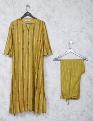 Mustard yellow cotton festive kurti set