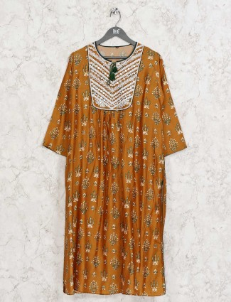 Mustard yellow cotton printed design kurti