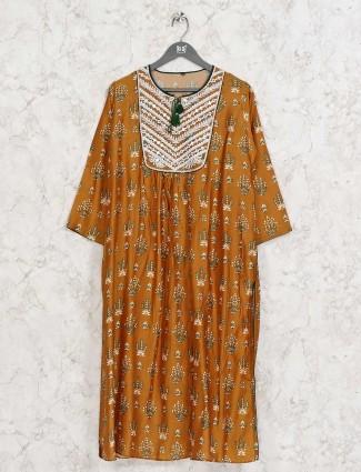 Mustard yellow cotton printed design kurti