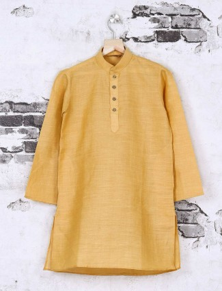 Mustard yellow cotton silk festive kurta suit