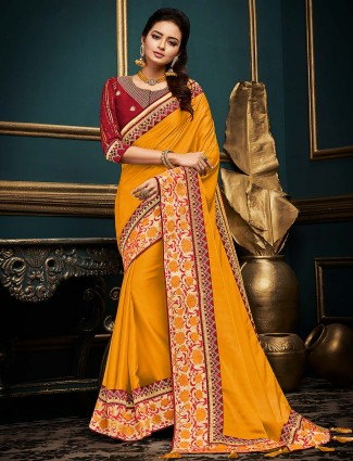 Mustard yellow cotton silk festive saree