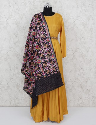 Mustard yellow cotton silk floor length salwar suit