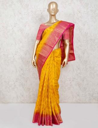 Mustard yellow cotton silk jacquard design saree
