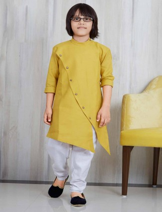 Mustard yellow cotton silk kurta suit