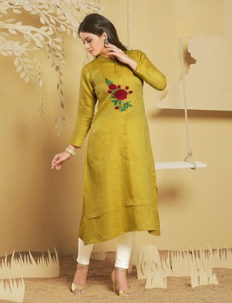 Mustard yellow cotton silk kurti