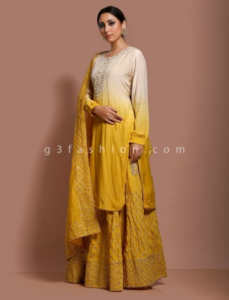 Mustard yellow cotton silk party punjabi sharara suit