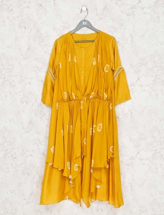 Mustard yellow cotton silk printed kurti