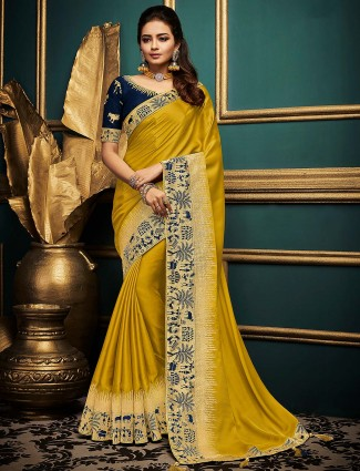 Mustard yellow cotton silk saree for festive occasion