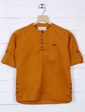 Mustard yellow cotton solid shirt