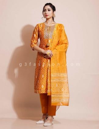 Mustard yellow designer pant style salwar suit in cotton