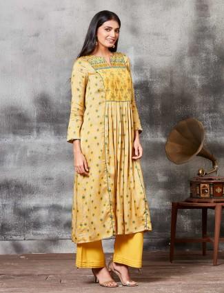 Mustard yellow festive raw silk punjabi salwar suit