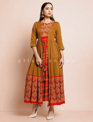 Mustard yellow jacket style kurti in cotton