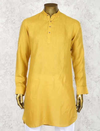 Mustard yellow linen cotton short pathani