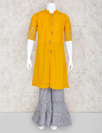 Mustard yellow palazzo set in cotton