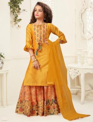 Mustard yellow printed gharara suit in cotton silk