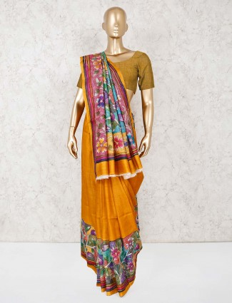 Mustard yellow pure silk saree