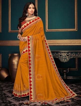 Mustard yellow saree in cotton silk fabric