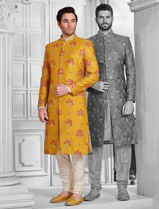 Mustard yellow silk designer sherwani