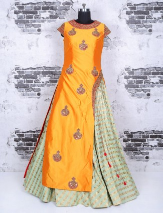 Mustard yellow silk wedding lehenga choli