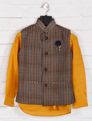 Mustard yellow stripe cotton waistcoat set