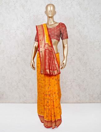 Mustard yellow wedding saree in dola silk