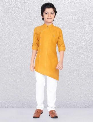 Mustard yellow zitter pattern kurta suit